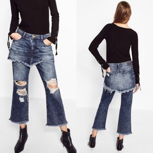 Zara Denim Wide Distressed Layered Jeans